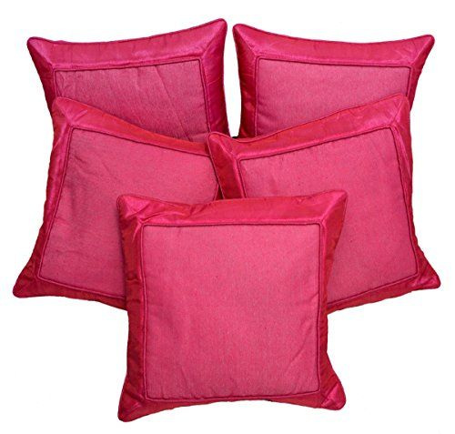 5pcs Dark Pink Silk Pillow Covers Indian Modern Luxury Sofa Cushion Covers Krishna Mart India http://www.amazon.com/dp/B010FVKZ26/ref=cm_sw_r_pi_dp_ZuILvb03425K6