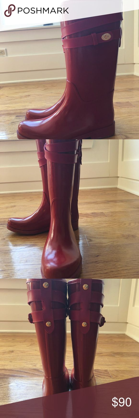 Red coach rain boots adorable red coach rain boots. Only worn once!! Perfect for winter weather! Coach Shoes Winter & Rain Boots