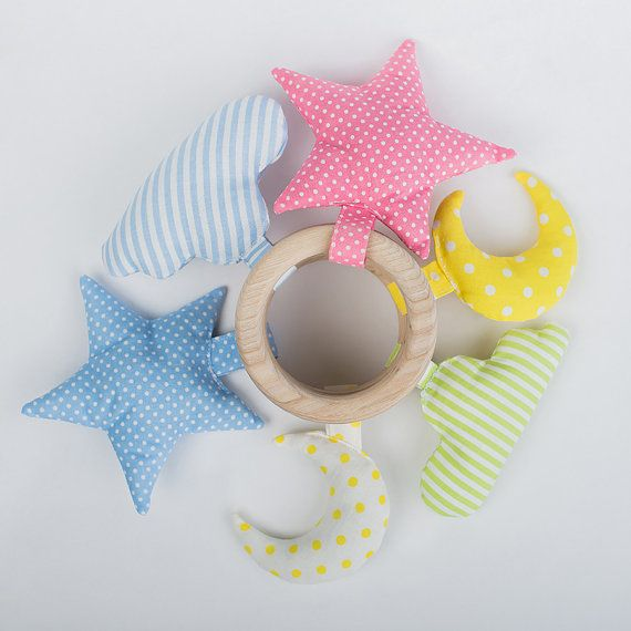 Set of 6 natural wooden teething rings Sky White Yellow Pink Green - Organic teether wood cotton