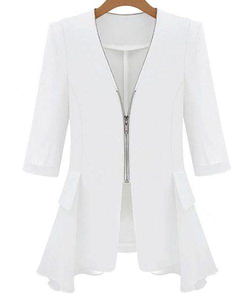 $15.69 Stylish V-Neck 3/4 Sleeve Chiffon Spliced Zippered Jacket For Women