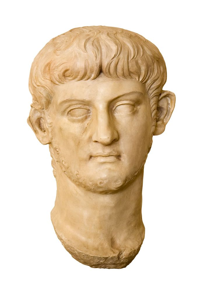 A marble bust of Nero, Roman emperor from A.D. 54 to 68.