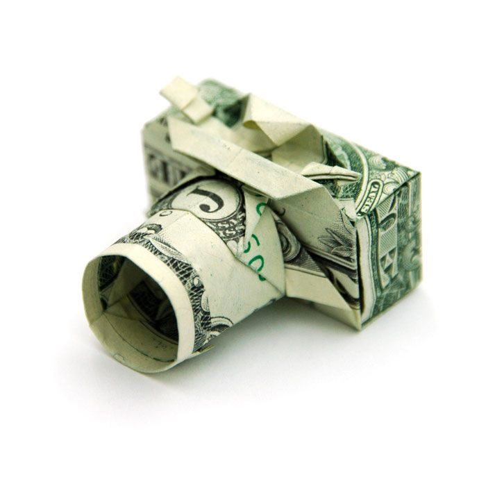 Origami Camera made from a dollar bill by artist Won Park.
