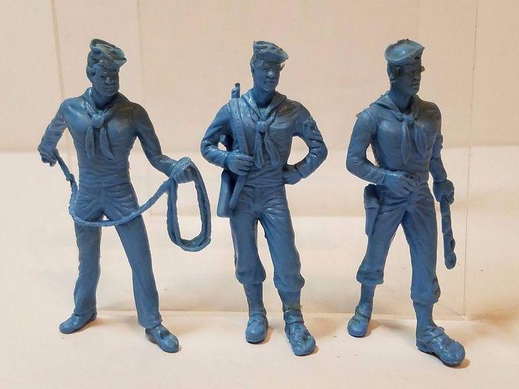 Vintage Marx Vinyl Plastic Toy Soldiers WW2 Navy Sailor Blue 1960s Figures 60mm #Marx