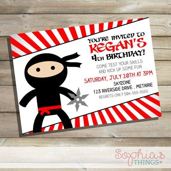Ninja Birthday Invitations Party Invite Black Red