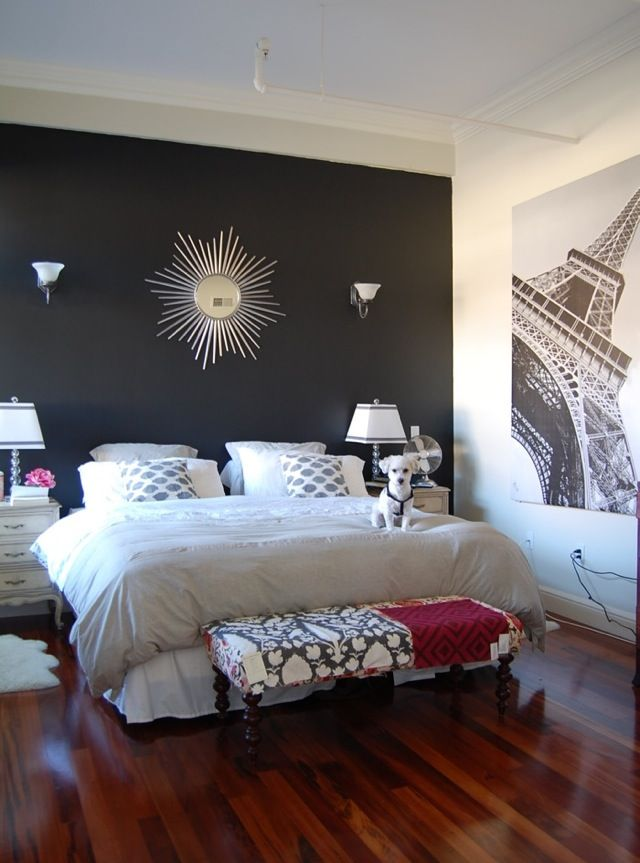 bedroom sleek laminate floor decorated white bedroom interior set black wall paint accent decorative sunburst eiffel tower painting small white puppy paired