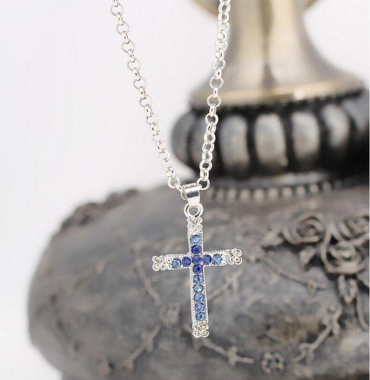 Halskette mit Kreuz Anhänger Farbe Silber Strass Schmuck Modeschmuck Kette Neu