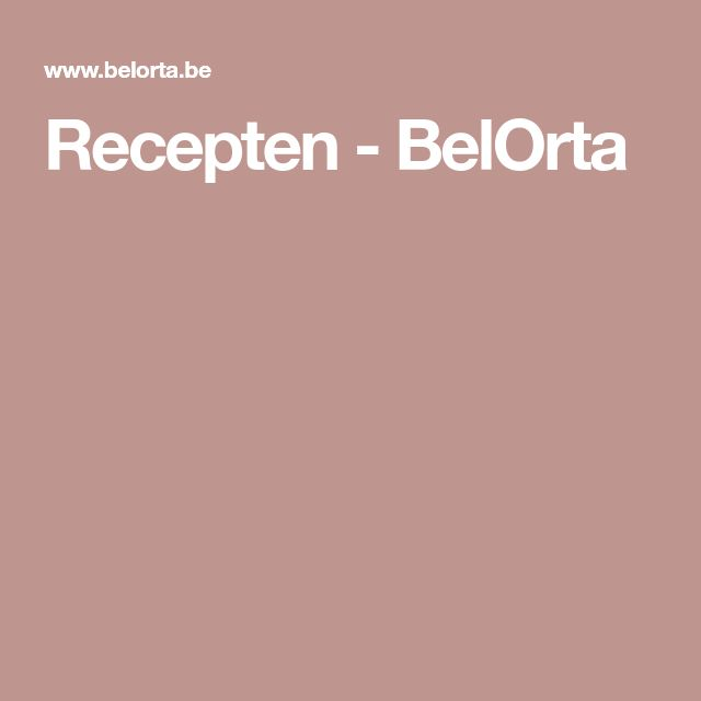 Recepten - BelOrta