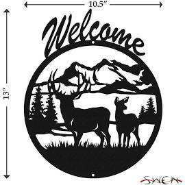 Swen Products Deer Buck Wildlife Black Metal Welcome Sign
