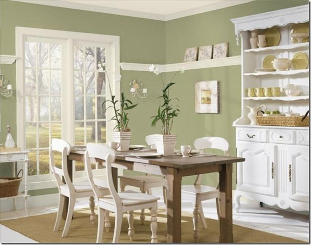 saybrook sage on walls - but don't you adore this cottage style dining room! The chairs painted, the table natural....against the white...too good!
