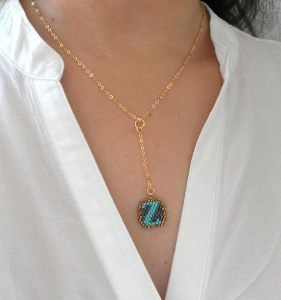 Turquoise initial necklacePersonalized gift for women