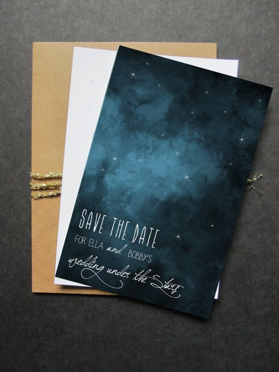 Save the Date Under the stars Outdoor Wedding Navy & by HooplaLove, $50.00