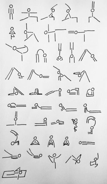 pressesctocancel:    yoga stick man in various asanas