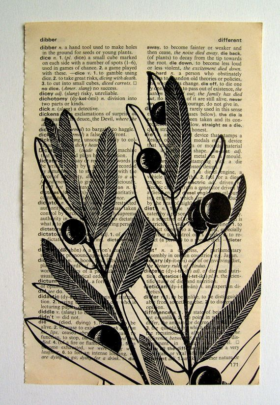 Baies - linogravure imprimer sur une page de dictionnaire sur Etsy, 6,76€
