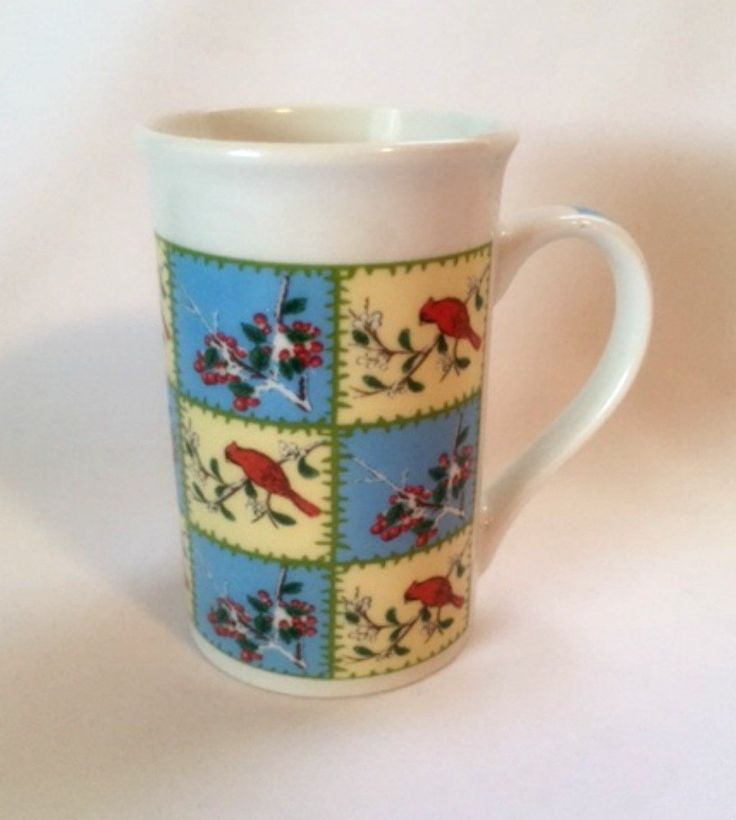 Cardinal Mug Red Birds Nature Berries 12 Oz. Tall Coffee Cup Multicolor Ceramic Pre-Owned Ready to Ship Color Monitors May Vary
