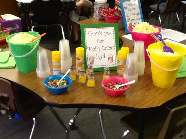 Popcorn bar set up for my parents and students at Open House. It was a great draw to get parents to attend!