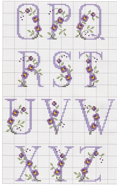 Cross-stitch Alphabet with Flowers, part 2...   no color chart, just use pattern chart as your guide    Gallery.ru / Фото #3 - 9 - elypetrova
