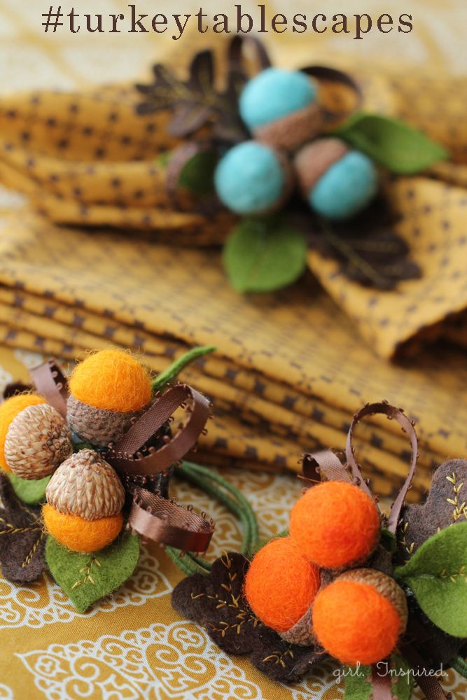 Autumn acorn napkin rings tablescapes autumn for Diy fall napkin rings