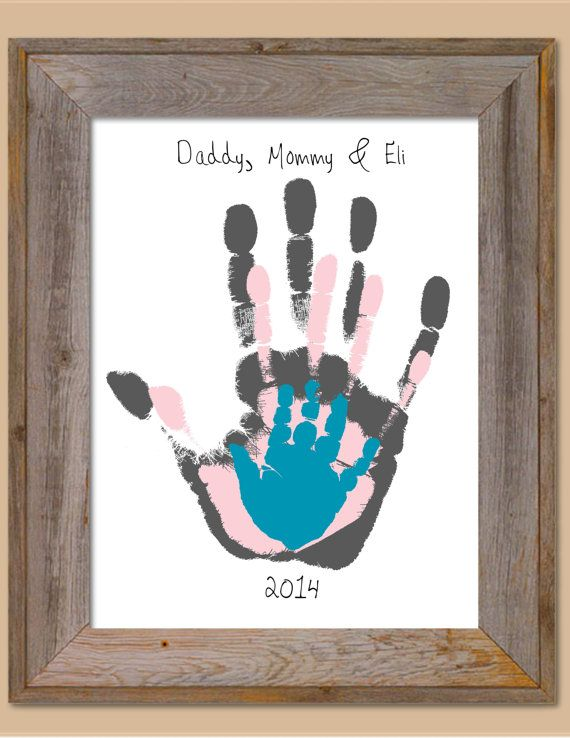 Parent and Child Handprint Art - Personalized Baby/Child's Room, Parent, Mother's Day, Father's Day, Valentine's Day,Grandparent Gift