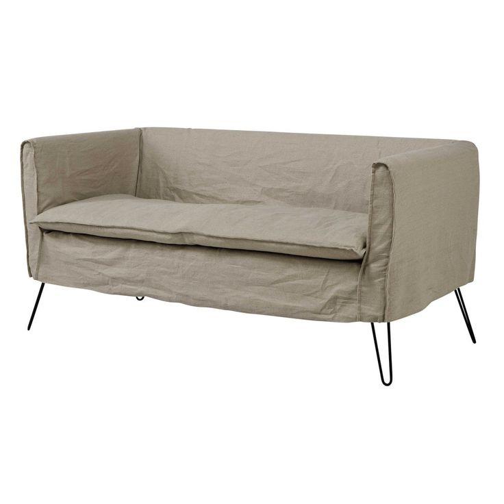 Canapé 2/3 places en lin naturel - Andy