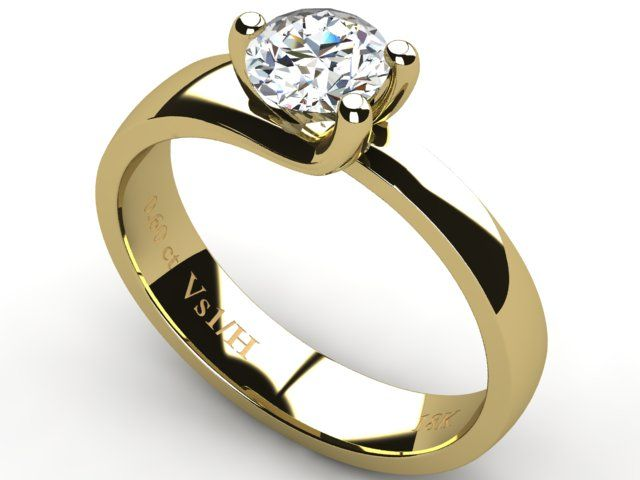Yellow Gold Solitaire Diamond Ring 0.60 ct - Paul Jewelry
