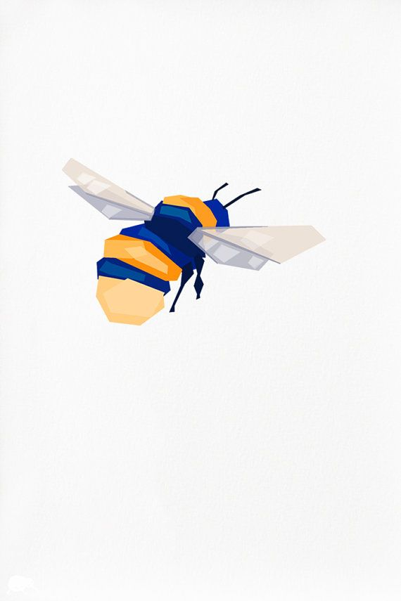 Geometric illustration Bumblebee Insect print by tinykiwiprints