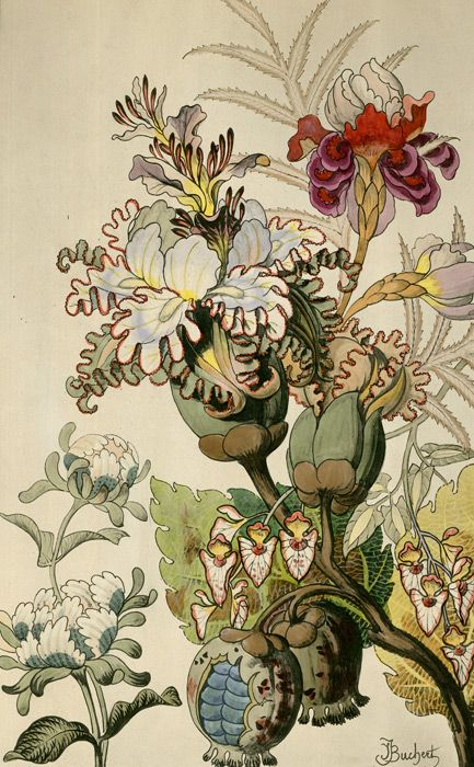 Tattoo inspiration... Japanese Fantasy Flowers  These colourful Art Deco floral images are fine art giclee reproductions of original designs used to produce hand-painted wallpaper and are from the TROWBRIDGE antique archives.