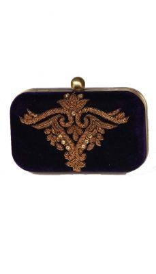 Navy Persian Motif Zardozi Clutch   Strandofsilk.com - Indian Designers