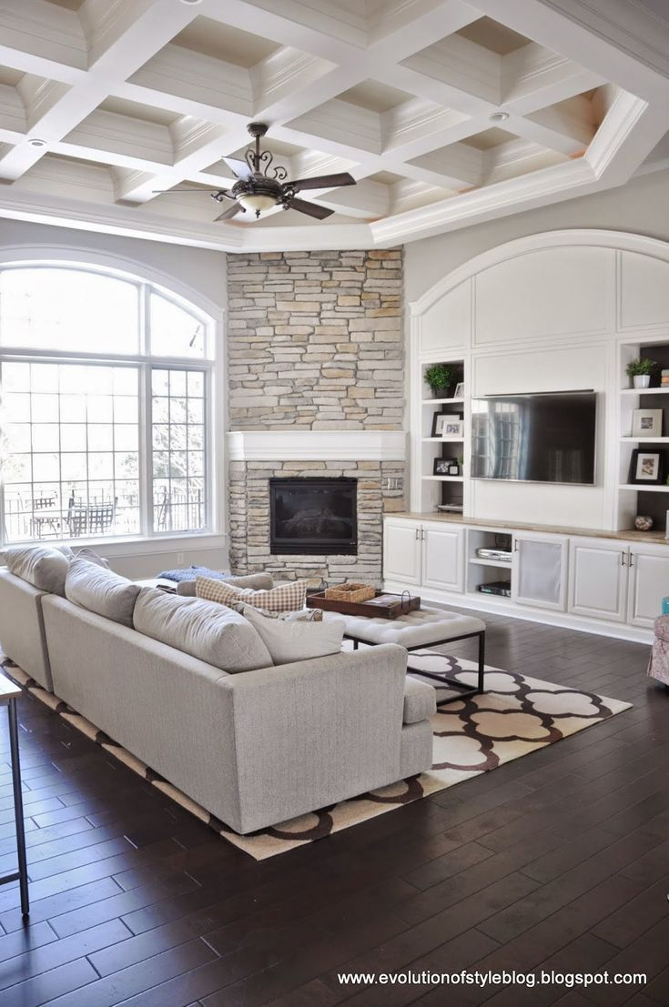 Corner fireplace with built-ins #Fireplace makeover