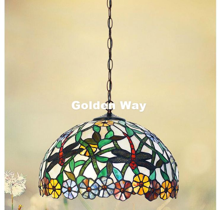 Free Shipping Modern Tiffany Pendant Light Baroque Style Hanging Lamp 12 Inches Stained Glass Suspended Luminaire E27 110-240V