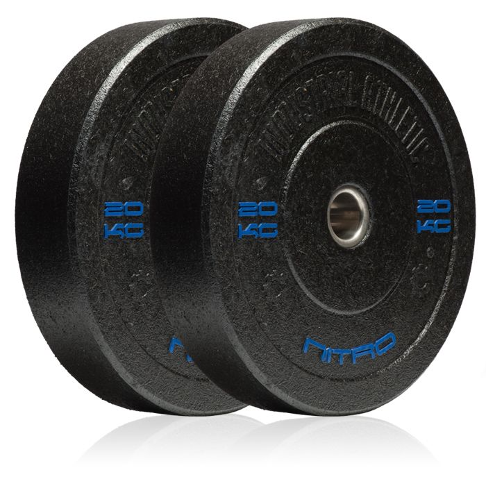 20KG Nitro Bumper Plates - Pair. Recycled Crumb Rubber Olympic Bumper Plates, with chemically bonded 10mm steel inserts.  Medium bounce, and great durability.  Hard-core styling in black.  Bumper plates allow you to safely drop any load from the waist, chest, or even overhead with the confidence that you will not damage yourself, or your equipment.
