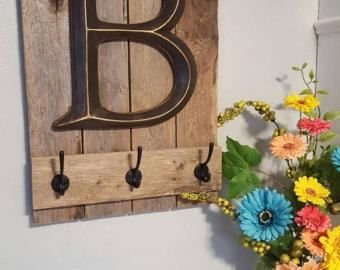"""Rustic Home Decor - Family Sign Coat Rack with 12"""" Letter - Family Sign - Wall Hooks - Wedding Gift - Reclaimed Wood - Farmhouse Wall Decor"""