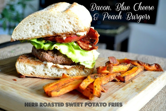 Bacon, Blue Cheese + Peach Burgers | Burgers~ | Pinterest