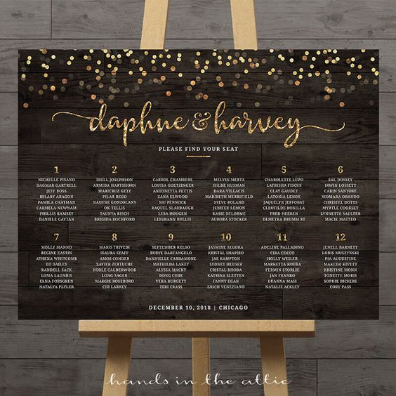 Gold confetti wedding seating chart guest list table