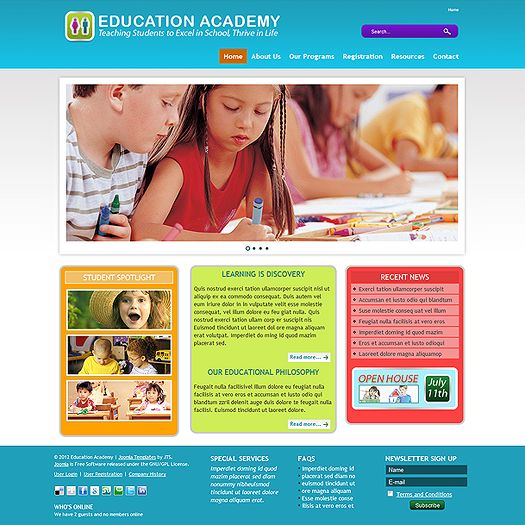This new school template is a Joomla 2.5 education template crafted to be both information-rich and playful in design. With bright colors and clean textures this new Joomla school template is decidedly kid-friendly, while being user-friendly for parents and school administrators alike. If you're going to launch a new Joomla preschool website, why not make it as inviting as your brick and mortar faciliy? That's exactly what we've designed this new school template to do.