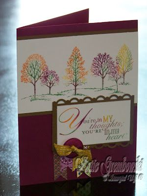 """The ladies in my Hostess Club will be making this card this month. To get the colors on the trees, I created a custom inkpad using a baby wipe. This technique enables you to stamp the image multiple times without having to clean the stamp in between - love it! I used the same """"inkpad"""" to stamp the sentiment, giving it a multi-colored look as well."""