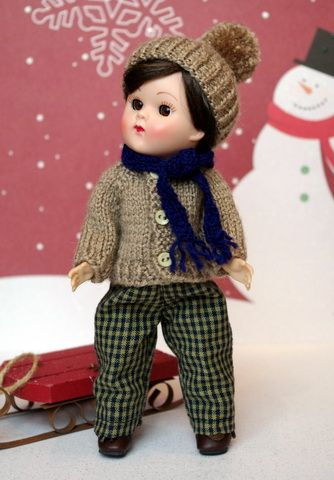 """MaPLe FRoST... a 4 PC Handknit Clothing Set for Vogue's 7.5"""" Ginny Boy Dolls. One set available now, click the pix to take you there."""