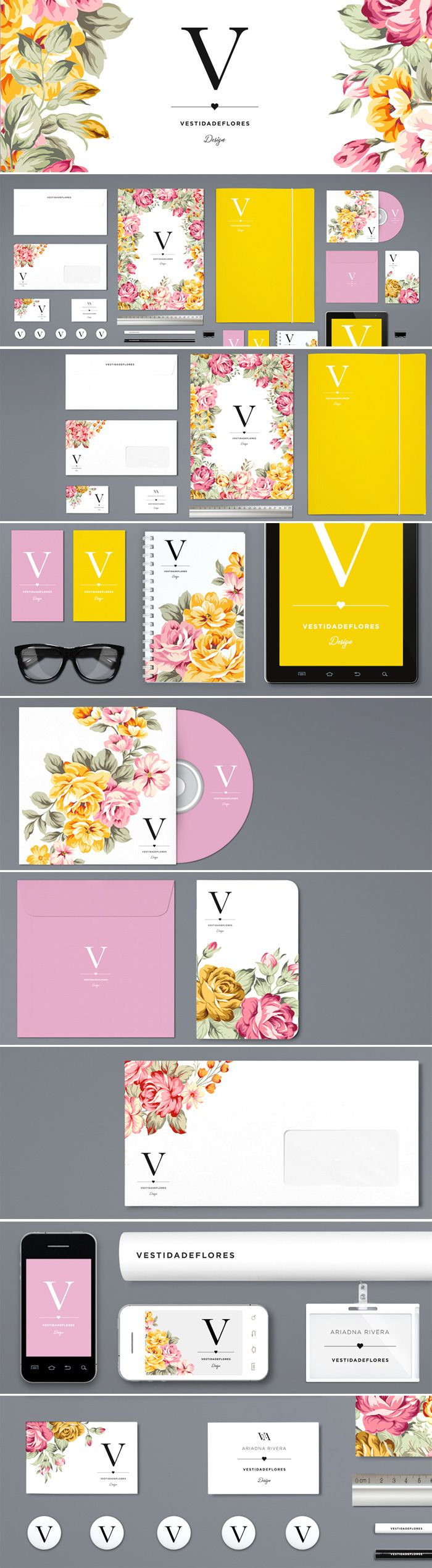 Diseño de identidad corporativa Vestidadeflores (by Ariadna Rivera) from Tela Papel Tijeras #Branding and #logo #design