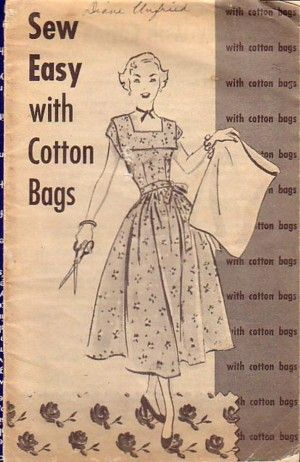"""Booklet """"Sew Easy with Cotton Bags"""" from article """"Recycling Feedsacks into Fashion"""" in The Vintage Traveler."""