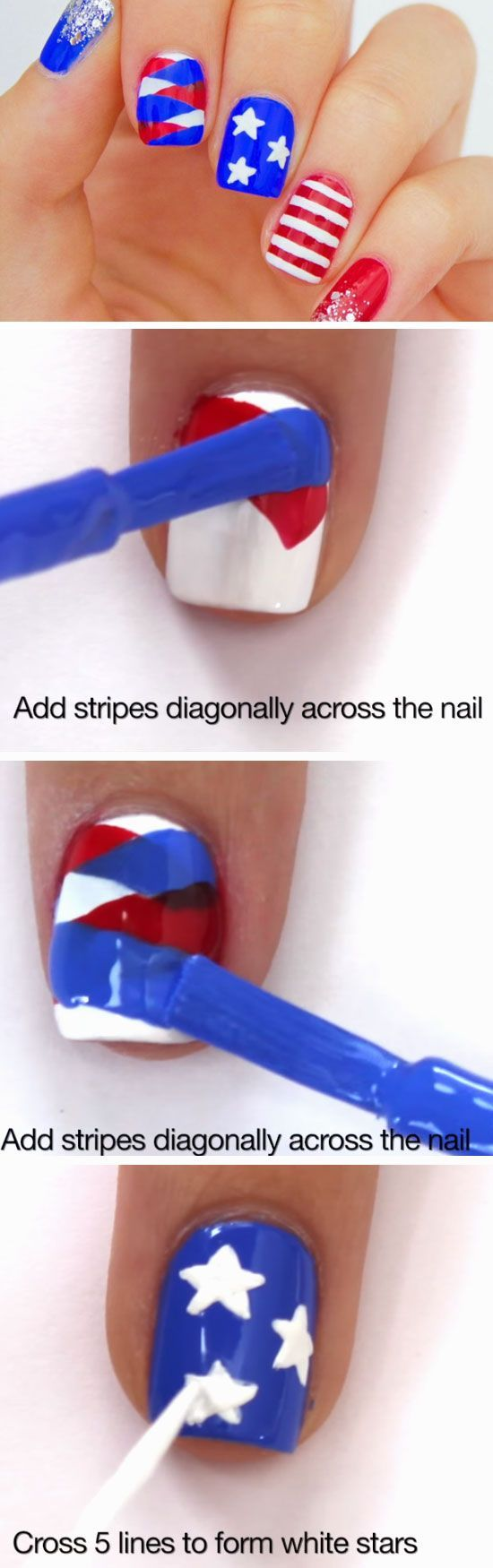 Fishtail Braid + Stripes | 18 Fourth of July Nail Art Designs for Teens that scream independence day!