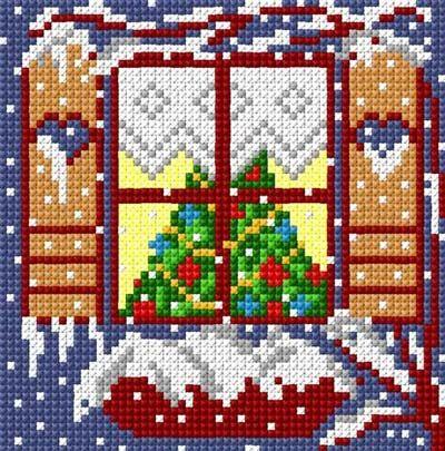 Christmas window cross stitch window tree snow