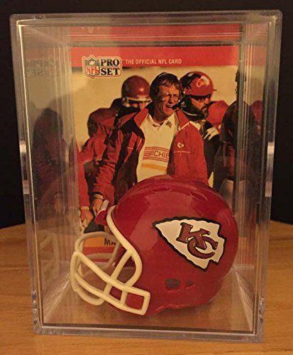 Kansas City Chiefs Throwback NFL Helmet Shadowbox w Marty Schottenheimer card *** For more information, visit image link.