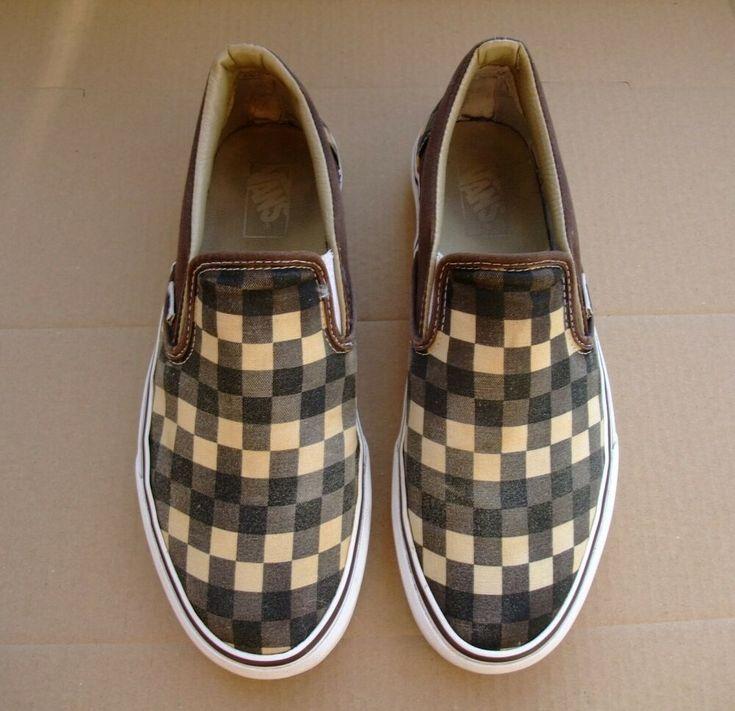 Vans chekerboard Men US 10 Women US 11.5 slip on shoes green