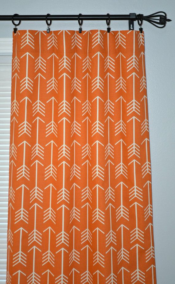 Orange Curtains Pair of Rod Pocket Panels by Beeyourselfdesigns
