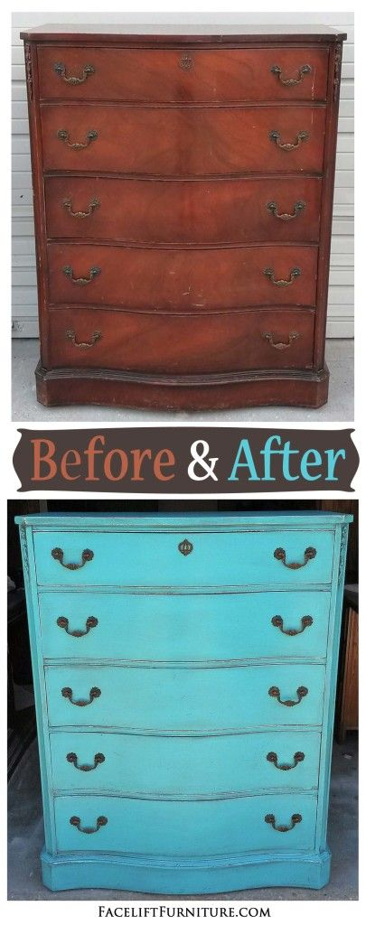 Antique mahogany chest of drawers in Turquoise - Before and After from Facelift…