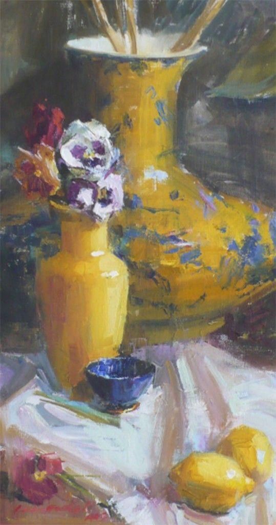 Pansies,  Susan Lange Marshall | 18x10 Oil on linen  TL Norris Art Gallery | Greenville, SC