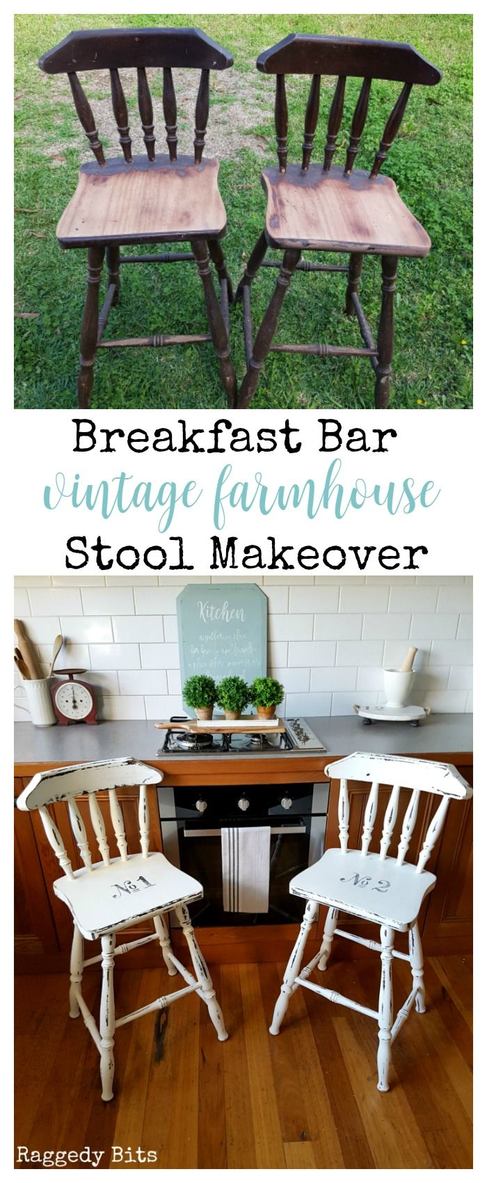 Some road side stools get a much needed makeover with some Picket Fence Fusion Mineral Paint | Breakfast Bar Vintage Farmhouse Stool Makeover | www.raggedy-bits.com