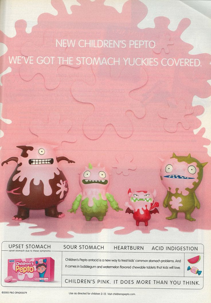 Cute Pepto Bismol for kids monster ad.