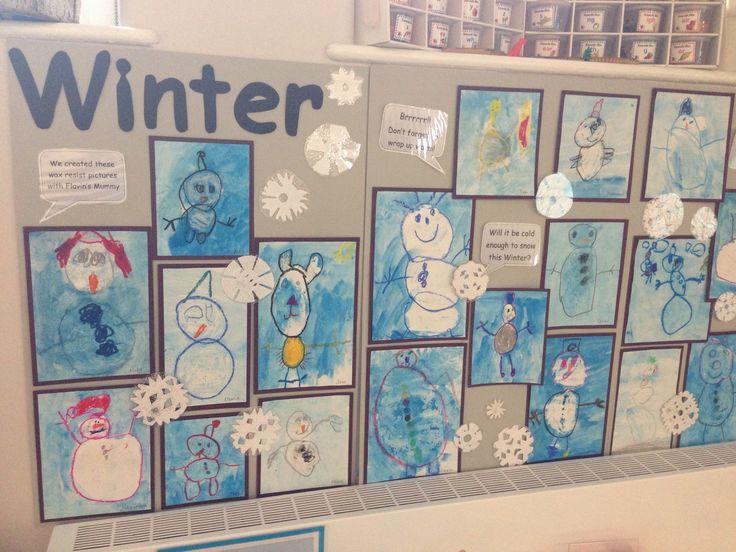 Winter snowmen wax resist