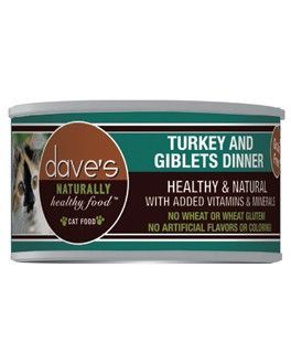 DAVES PET FOOD CAT CANS - NATURALLY HEALTHY TURKEY/GIBLET CAT 24/3OZ