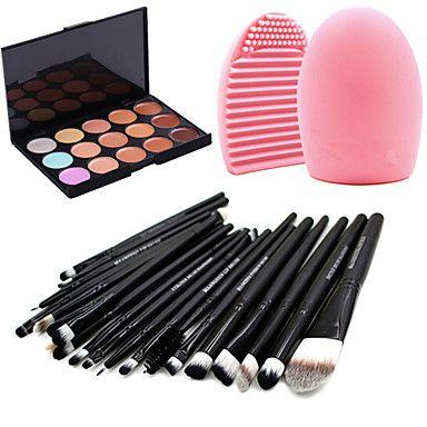 professionele make-up 20pcs borstels set poeder foundation oogschaduw eyeliner lip brush tool + 15color concealer + borstel schoonmaken – EUR € 10.02
